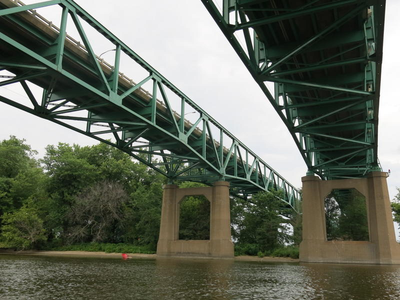 View of the I-74 bridge from a boat in the Sylvan Slough