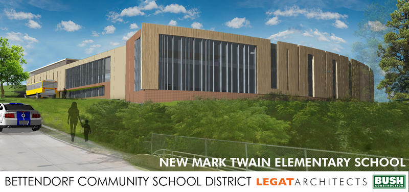 Architectural drawing of Bettendorf's new Mark Twain Elementary School