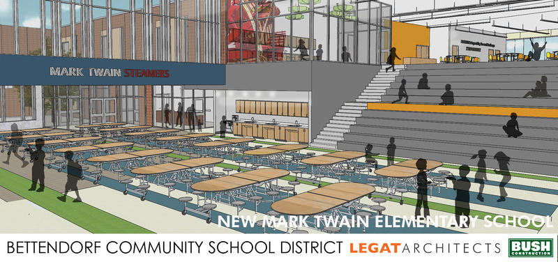 Architectural drawing of the interior of Bettendorf's new Mark Twain Elementary School