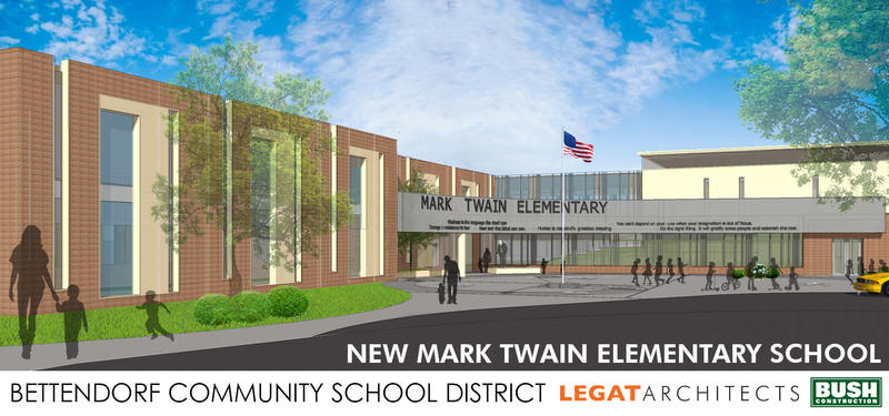 Architectural drawing of the main entrance of Bettendorf's new Mark Twain Elementary School