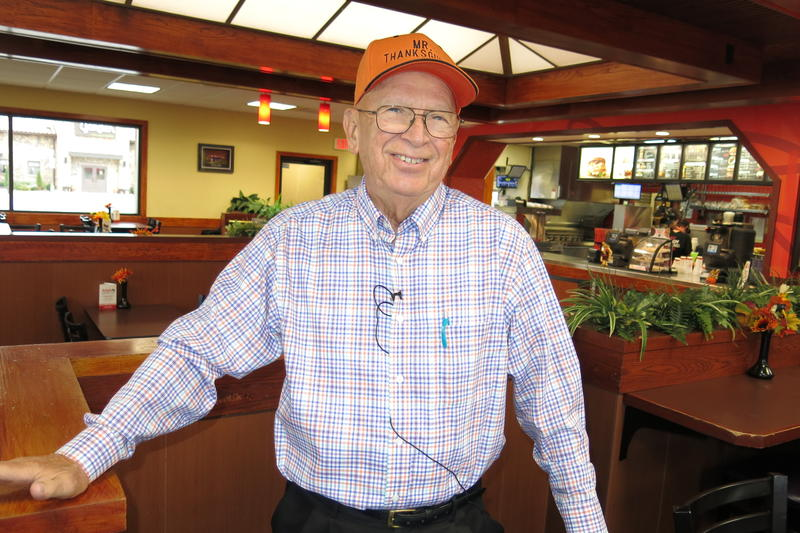 """Bob Vogelbaugh, """"Mr. Thanksgiving,"""" at his press conference this morning at Arby's in Moline, IL."""