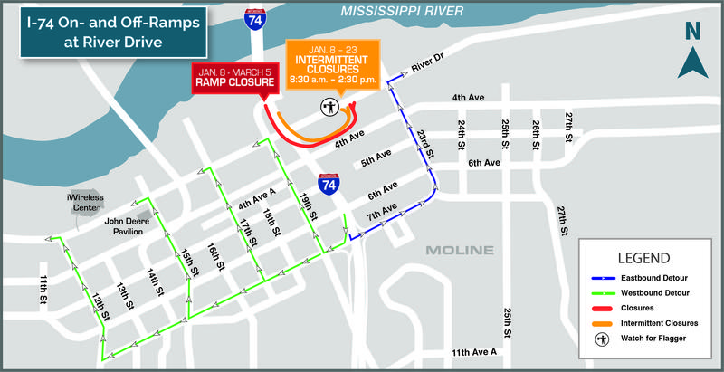 Maps showing Moline River Dr. ramps closures, dates & detours.