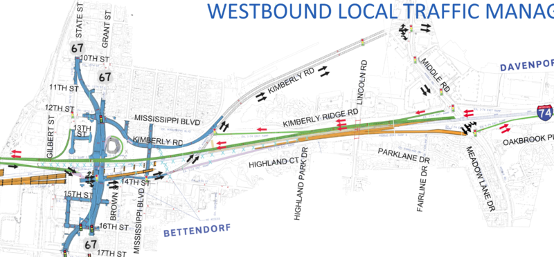 Map of preliminary plan for detouring traffic in Bettendorf from the westbound lanes of I-74