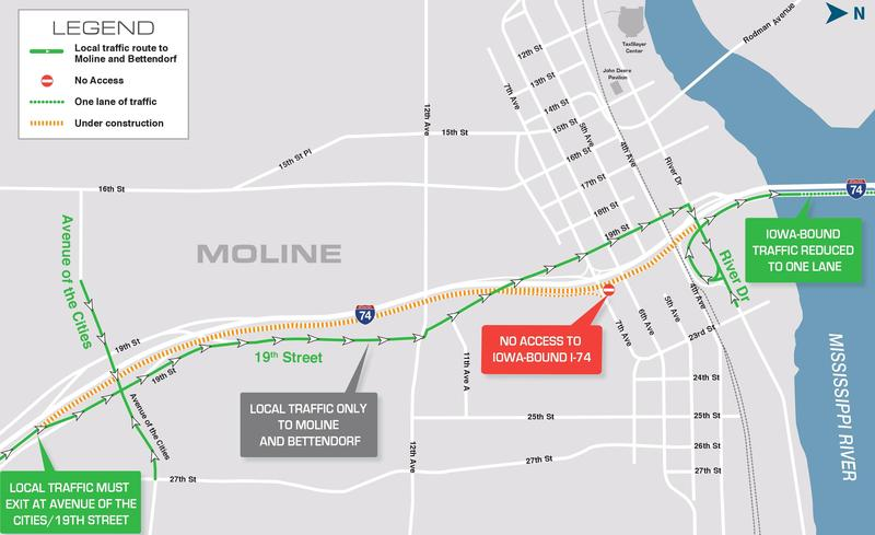 19th Street will be the detour for westbound I-74 traffic in Moline.