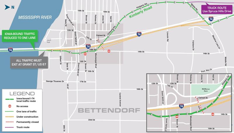 Kimberly Road will be the detour for westbound I-74 traffic in Bettendorf from Grant St. to Middle Rd. until the end of May.