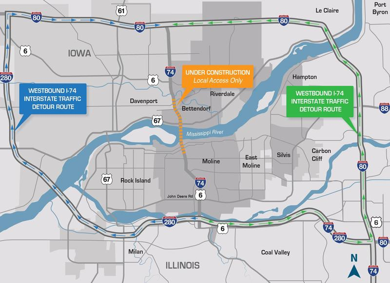 Effective Monday (3/18/2019), the Iowa-bound I-74 bridge will be closed to most traffic. Drivers not going to the downtowns of Bettendorf or Moline must use I-80 and I280. One lane of local traffic will be allowed on the existing bridge.