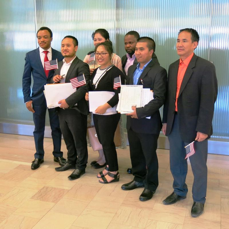 a group of new US citizens who live in Columbus Junction