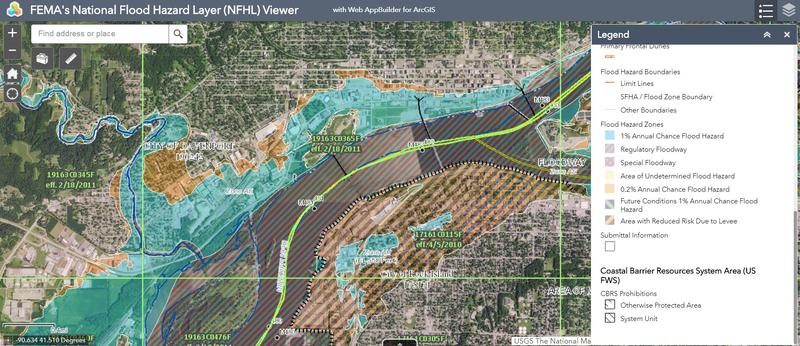 Screenshot of Davenport and Rock Island riverfronts with flood zone information