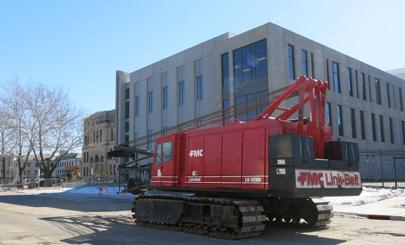 A crane has been moved to 2nd Avenue's 1300 block near the 122-year-old courthouse.