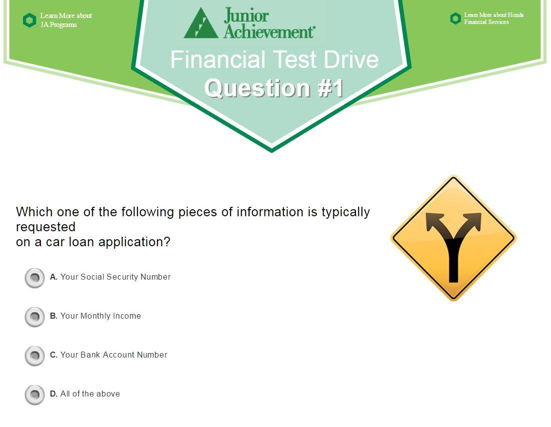 One Question From The Financial Test Drive Quiz