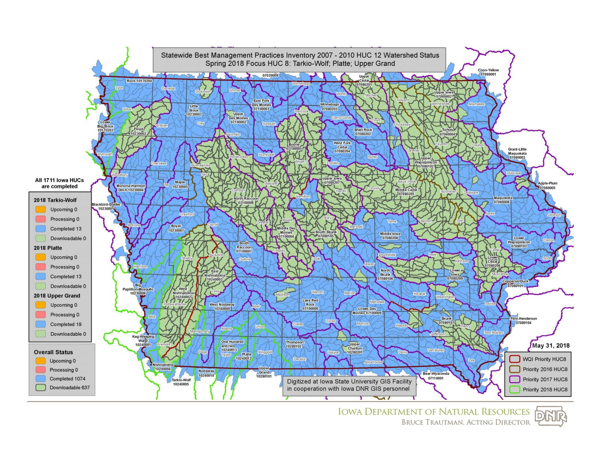 Audubon Iowa Map.Iowa Dnr Completes Digital Watersheds Mapping Wvik