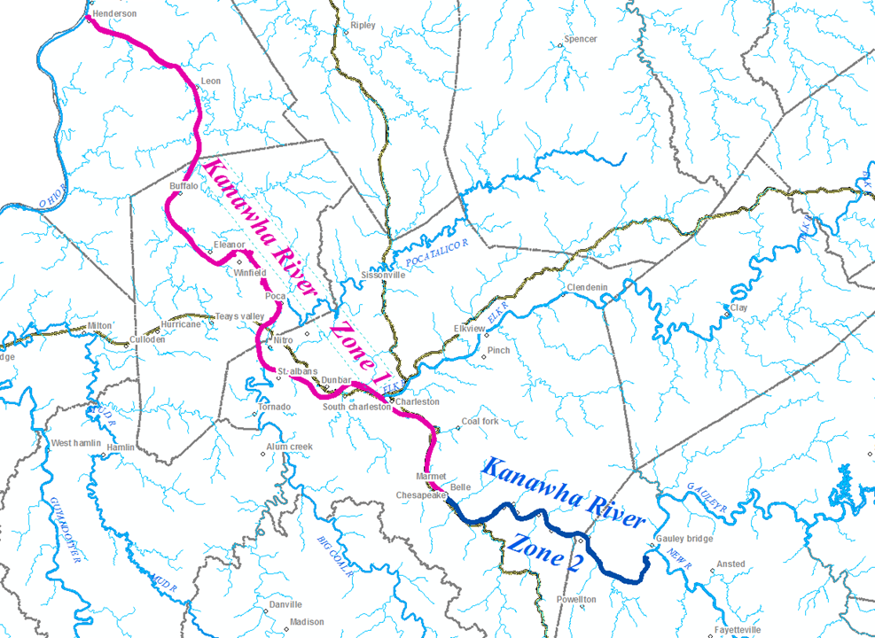 Could A Once Polluted Section Of The Kanawha River Be Used For - West virginia rivers map