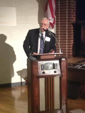 West Virginia Public Radio classical music host Frank Stowers accepting his induction into the West Virginia Broadcasters Hall of Fame in October 2013.