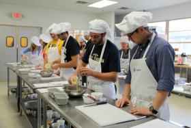 Students at the WVU School of Medicine Eastern Division learn how to prepare healthy meals during a cooking class at Blue Ridge Community and Technical College.