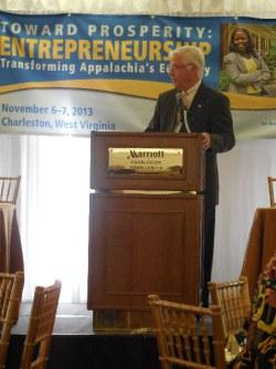 Secretary of Commerce Keith Burdette addresses attendees at the Appalachian Regional Commission's annual conference.