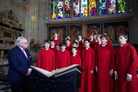 Starkey (left) and the King's College choir.