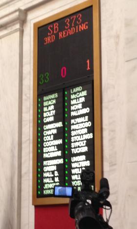 The tally board in the Senate shows the vote total for Senate Bill 373.