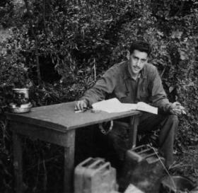 "The only photo taken during World War II of Salinger writing ""The Catcher in the Rye."""