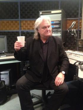 Ricky Skaggs stopped by our Charleston studios in August for an interview for 'Mountain Stage at 30: A Radio Retrospective'. He cheersed us after he was finished and, don't worry, that's a cup of coffee (thanks to Mountain Stage assistant producer Vasilia Scouras).
