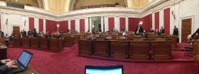 The House of Delegates with many empty seats for Monday's floor session.