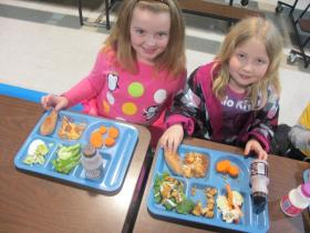 Kids at Lincoln County's Midway School love their brightly-colored trays.