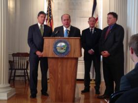 Gov. Tomblin is pushing his storage tank regulation bill, which among other things, would require public water systems to submit prevention plan reports to the DEP and DHHR.