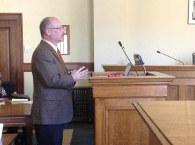 Marshall University Professor and Environmental Quality Board member Dr. Scott Simonton speaks to a legislative committee on Wednesday, January 29.