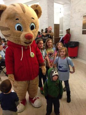 Daniel Tiger at Kids and Families Day at the Legislature. Feb. 4, 2014