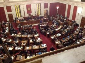 "The House Chamber during the public hearing on S.B. 373, or the ""Water Bill."""