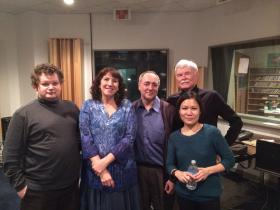 The Montclaire String Quartet and John Beall after rehearsal at West Virginia Public Broadcasting