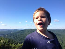 My son Max has a strongly-developed sense of smell...and he's a pretty good hiker, too. Both important skills for a West Virginian.