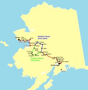 The Iditarod trail goes north on even years and south on odd years--spreading the adventure through different sets of villages.