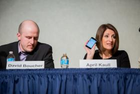David Boucher (left) and April Kaull (right) discuss how social media changed the way journalists covered the water spill crisis.