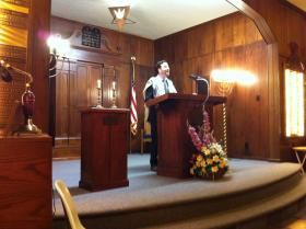 Student Rabbi Scott Gellman leads Sabbath services once a month at Temple Beth El in Beckley.