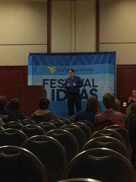 WVU Researcher Paul Holcomb discusses brain research during the Festival of Ideas.