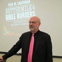 "Author Fred Sauceman discusses his newest book, ""Buttermilk and Bible Burgers"" during an appearance in Virginia."