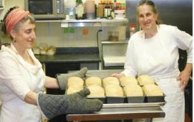 Jenny Bardwell on the left and Susan Brown on the right with loaves of Salt Rising Bread