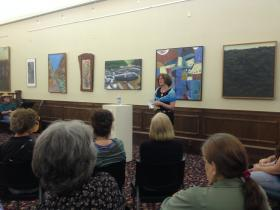 Laura Long interacts with her audience at a recent reading of her book, Out of Peel Tree.