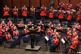 Lt. Col. Jason K. Fettig conducting the United States Marine Band in concert.