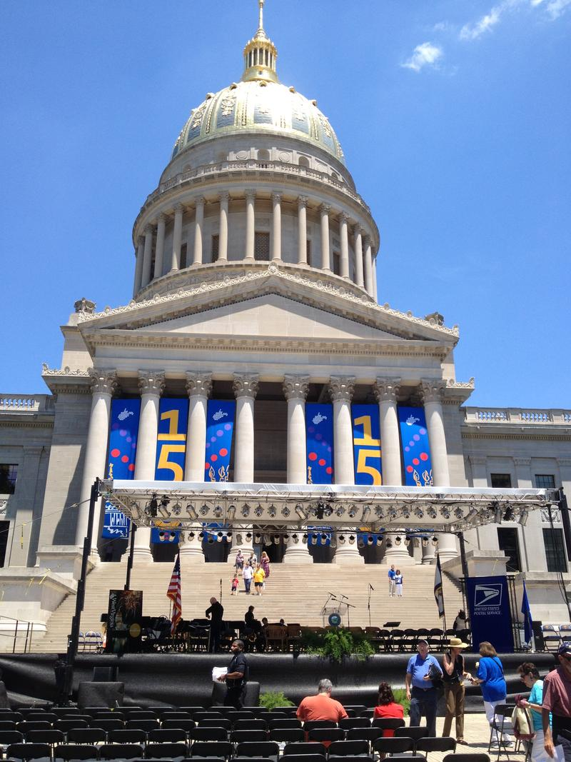 The West Virginia State Capitol in Charleston on the state's 150th birthday.