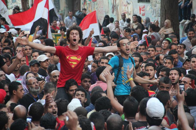 Protesters at the Arab Spring uprising in Egypt.
