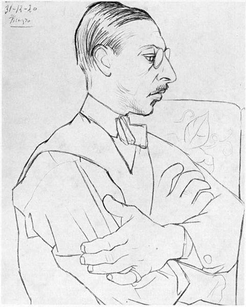 Igor Stravinsky, as drawn by Pablo Picasso