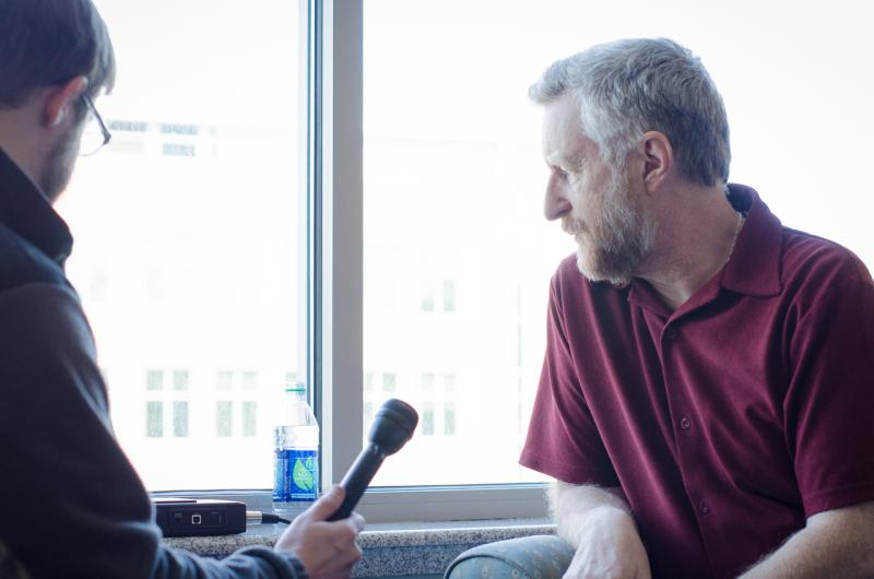 Dave Mistich interviews Billy Bragg at the Waterfront Hotel in Morgantown before a taping of Mountain Stage.