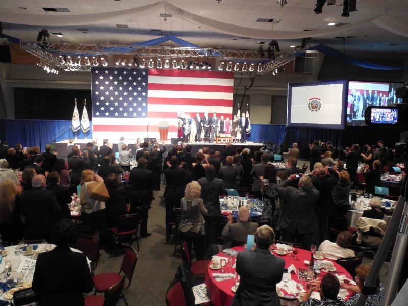 About 1,500 people gathered in a ballroom at the Chalreston Civic Center to honor Senator Rockefeller for his 50 years of service to the state. Rockefeller announced last year he will not run for reelection.