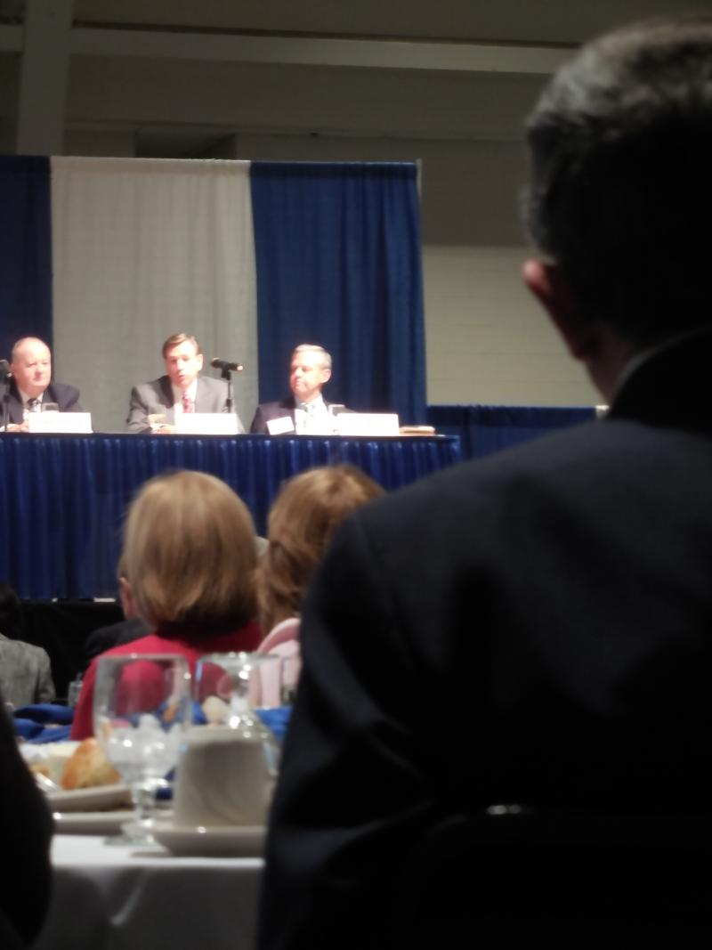 Summit participants listened as Senate Education Chair Bob Plymale shared his impressions of the discussions.