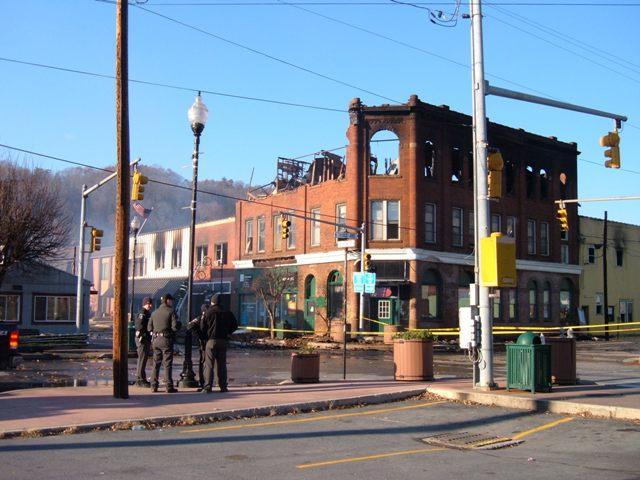 Fire in downtown Marlinton