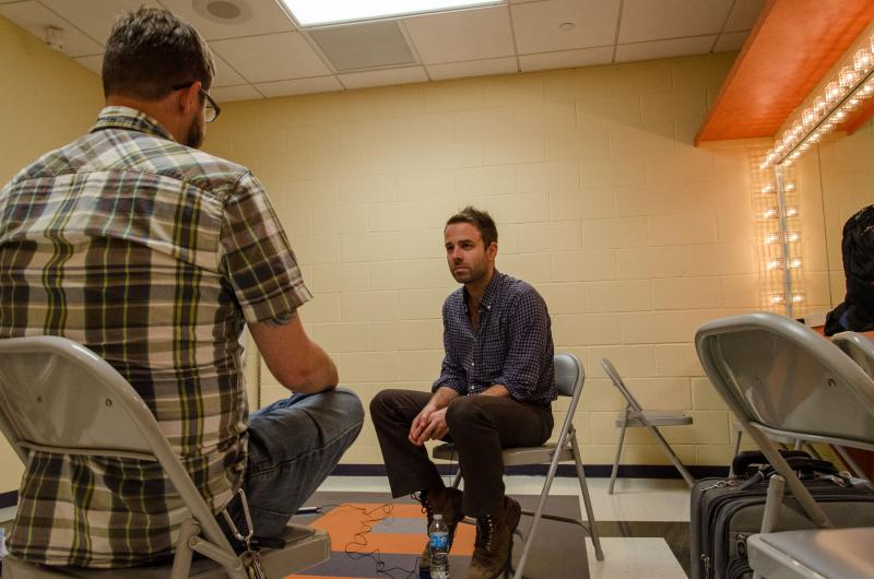Dave Mistich interviews Taylor Goldsmith of Dawes backstage at the Clay Center in Charleston before the 800th taping of Mountain Stage.