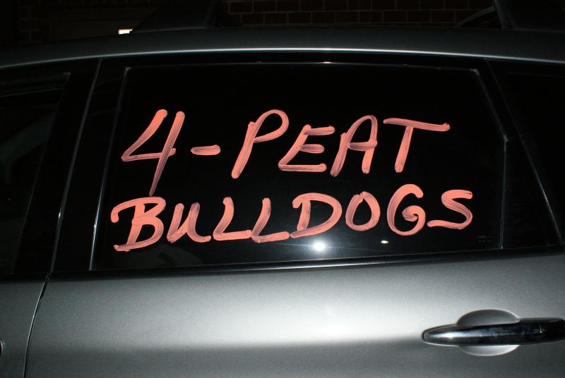 A Martinsburg High football fan expresses support for the team.