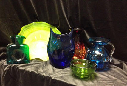 Peacock Water Bottle, Yellow Ruffled Bowl, Cobalt Twisted Vase, Tangerine Vase, Kiwi Bowl, and Turquoise Optic Pitcher from Blenko Glass