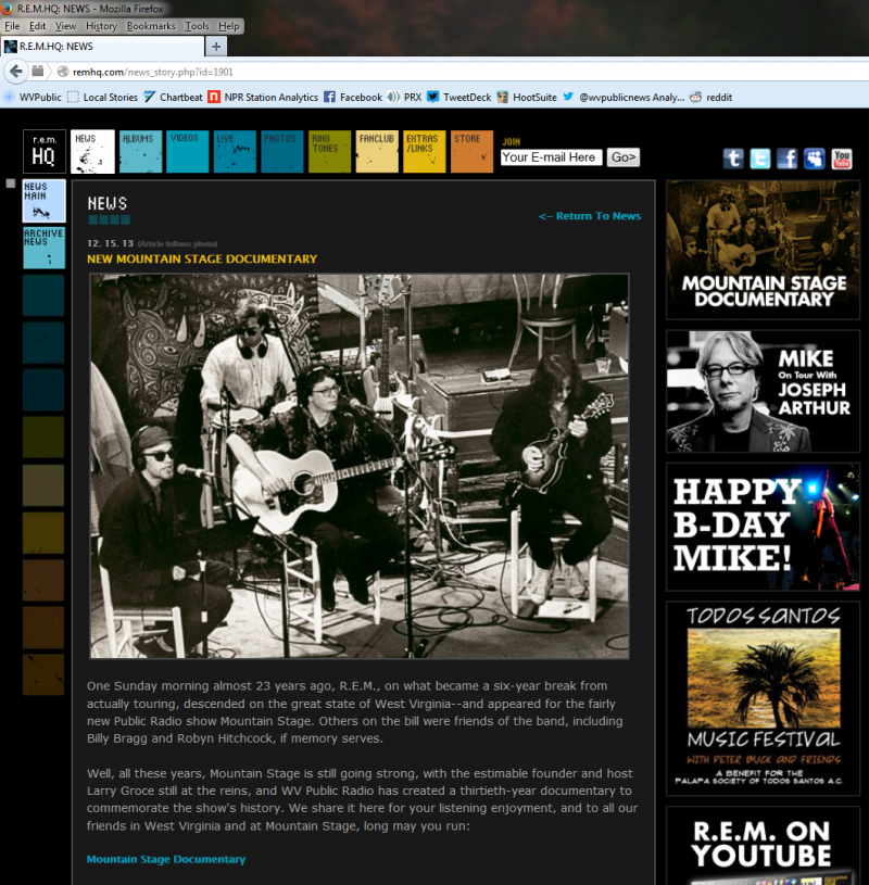 Screenshot of remhq.com showing their post about West Virginia Public Broadcasting's 'Mountain Stage at 30: A Radio Retrospective'